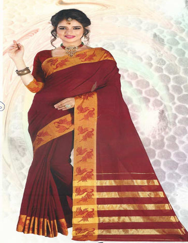 Maroon Pure Cotton Saree - FG3343