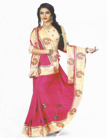 Dark Pink Synthetic  Saree -FH289