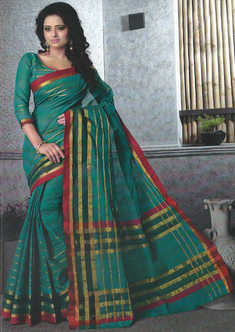 Darkcyan Pure Cotton Saree - EX5446