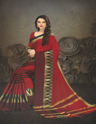 Red Aara cotton Saree - FG3346