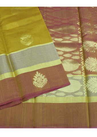 Yellow mixed Green Pure Silk cotton Saree