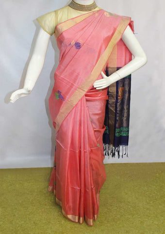 Pink with Blue Soft Silk Saree - FN68333