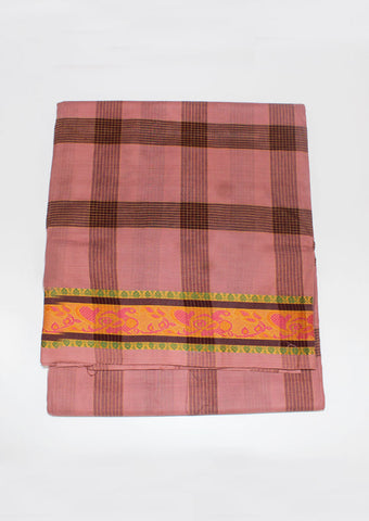 Light Pink Chettinad Cotton 9 yards Saree-FE10571