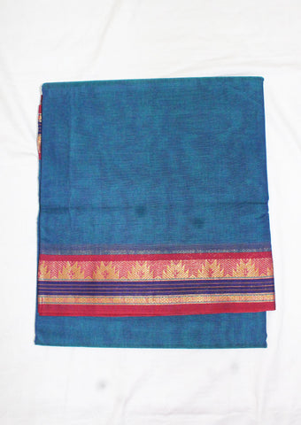 Blue Pure Cotton 9.5 yards Saree - FL96604