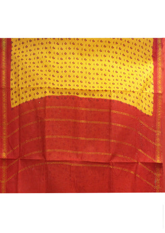 Yellow Sungudi Cotton nine yards Saree