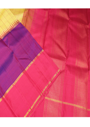 Pink With Yellow Checked Pure Silk Saree