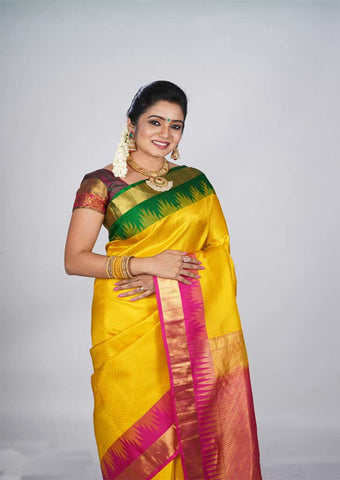 Yellow With Pink Nakshatra Pure Silk Saree - FH951