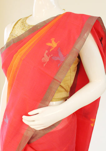 Red with Orange Pure Silk cotton Saree