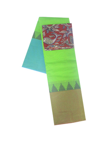 Green Chettinad Cotton Saree With Kalamkari Blouse