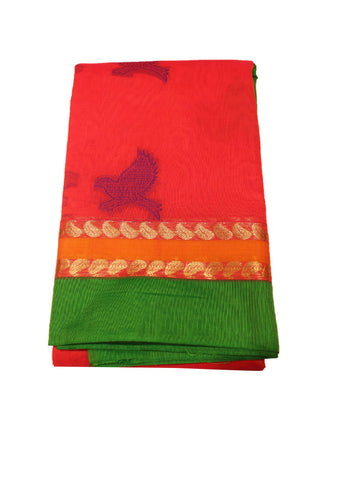 Red with green Pure Silk cotton Saree