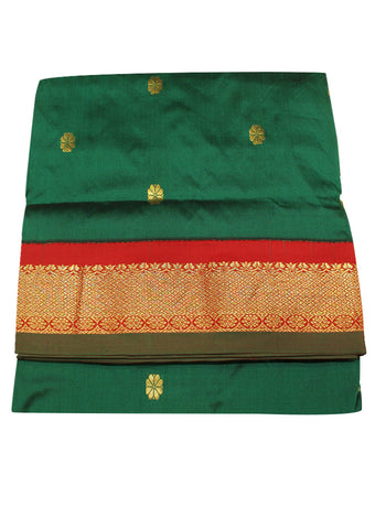 Dark Green with red Poly silk nine yards Saree