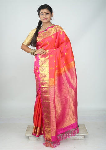 Orange With Pink  Nakshatra Pure Silk Saree - FH1855