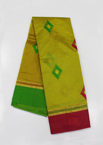 Mustard Green Pure Silk cotton Saree-FH1284