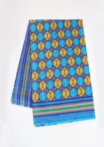 Dark Blue With Yellow Pure Cotton Saree - FF21619