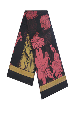 Black With Pink Pure cotton Saree