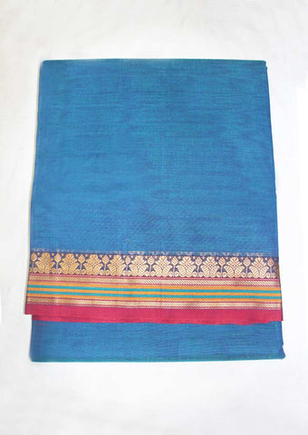 Green With Blue Shade Pure Cotton 9.5 yards Saree - FN49257