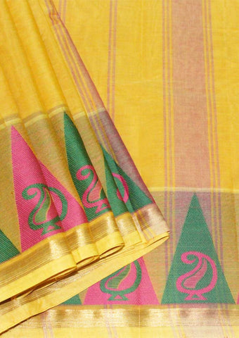 Yellow With Pink Chettinad Cotton Saree - FL4765