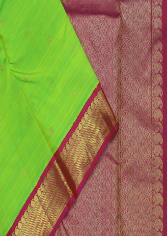 Peacock Green with Pink Bridal Pure Silk Saree - FF17859