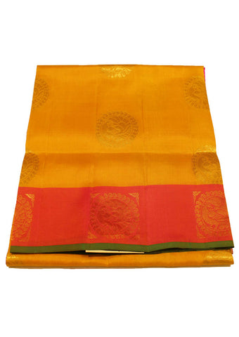 Yellow Light weight Kanchipuram Silk Saree