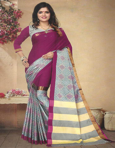 Magenta  Aara cotton Saree - FE11190