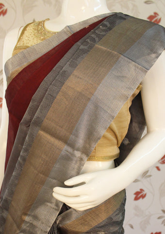 Light Black with Brown Pure Silk cotton Saree