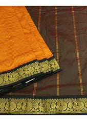 Light Mango  Poly silk nine yards Saree
