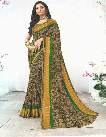 Black Synthetic  Saree -FF32248