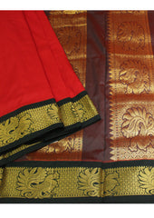 Red with Green Poly silk nine yards Saree