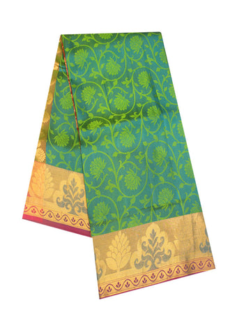 Green  With Pink Light weight Kanchipuram Silk Saree