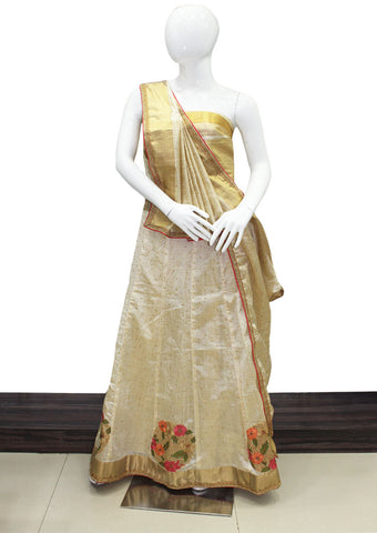 Half white With Golden Lehenga - FE17986