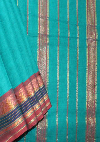 Peacock Blue Pure Cotton 9.5 yards Saree-FL96612