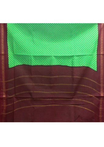 Peacock Green Sungudi Cotton nine yards Saree