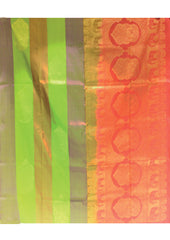 Green With Orange  Mayuri Soft Silk Saree