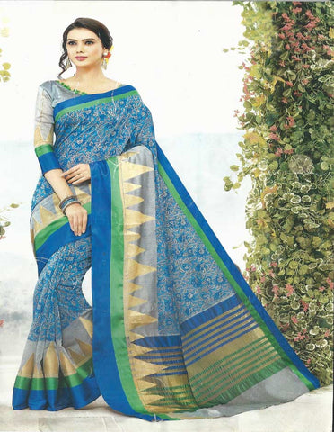 Skyblue Gadwal Cotton Saree - EY3082