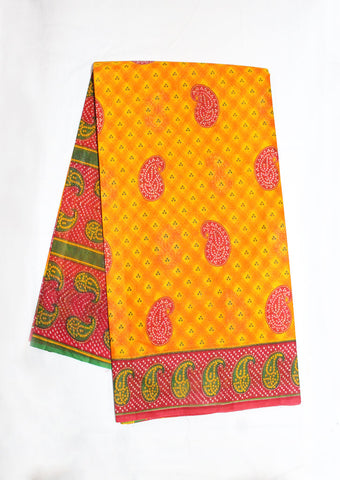 Yellow With Pink Pure Cotton Saree - FK33020