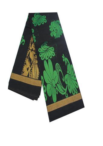 Black With Green Pure cotton Saree