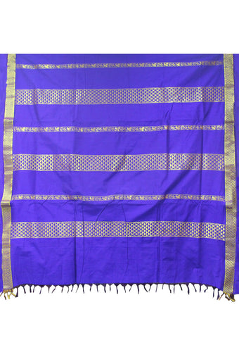 Blue Kalyani Cotton nine yards Saree