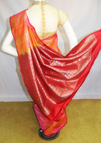 Pink with Orange Kanchipuram Silk Saree-FM92072