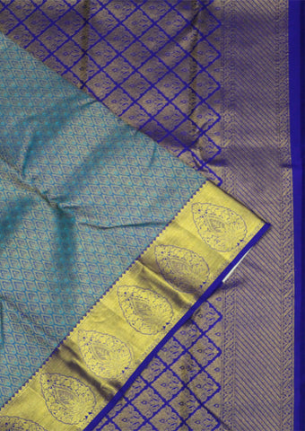 Green With Violet Bridal Pure Silk Saree - FD6271