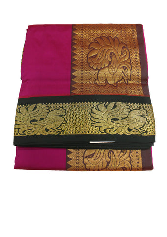 Pink mixed Lavender Poly silk nine yards Saree