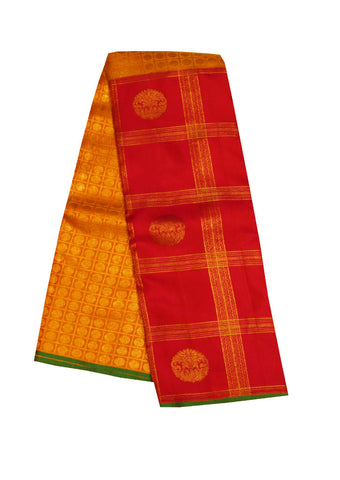 Pink With Green Checked Pure Silk Saree