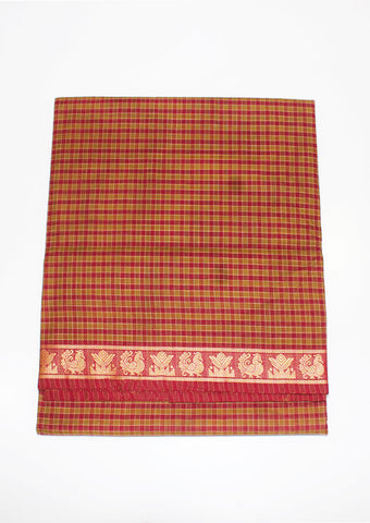 Mustard with Pink Checked Chettinad Cotton 9.5 yards Saree-FE10543