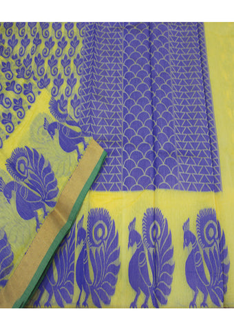Yellow With Violet  cotton Saree
