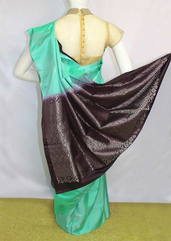 Aqua Green with Light Naaval Soft Silk Saree - FL87440