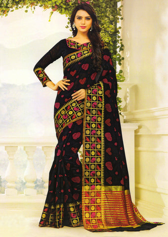 Black Gadwal cotton Saree - EY3083