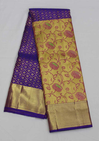 Blue  With Gold Bridal Pure Silk Saree
