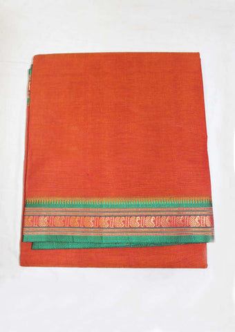 Orange With Green Pure Cotton 9.5 yards Saree - FN49268