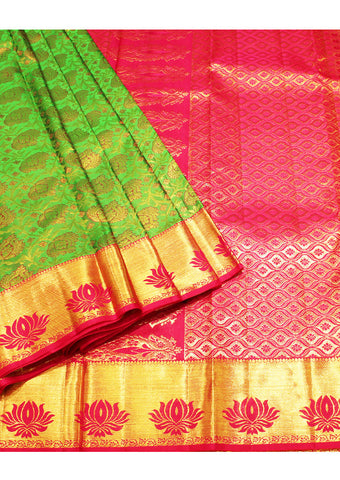Green with Pink Muhurtham Silk Saree