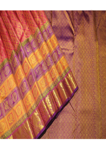 Pink With Magenta Bridal Pure Silk Saree