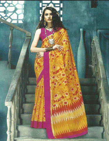 Yellow With Pink Synthetic  Saree -EP8783